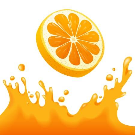 Heldere achtergrond met oranje en jus d'orange splash Stock Illustratie