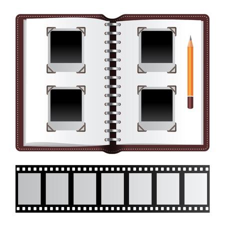 negatives: Photo album with empty photo frames and photo negatives Illustration