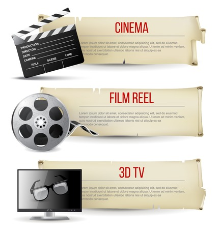 3 d glasses: 3 cinema banners in vintage style
