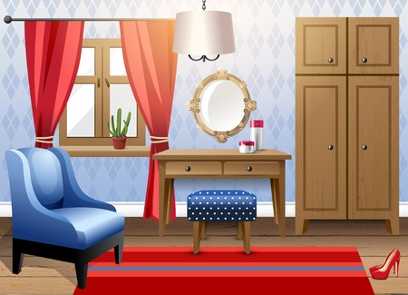 Interior design - big modern livingroom Vector