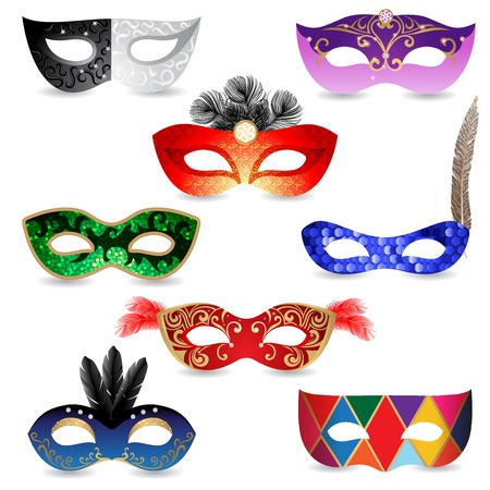 masquerade mask: 8 bright carnival masks  over white background Illustration