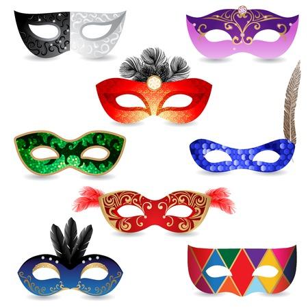 8 bright carnival masks  over white background Illustration