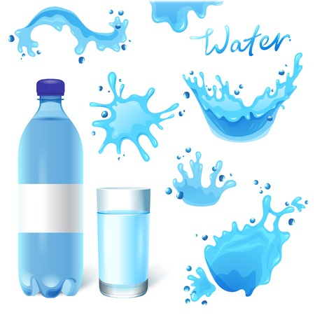 Water bottle, glass of water and water splashes set Vector
