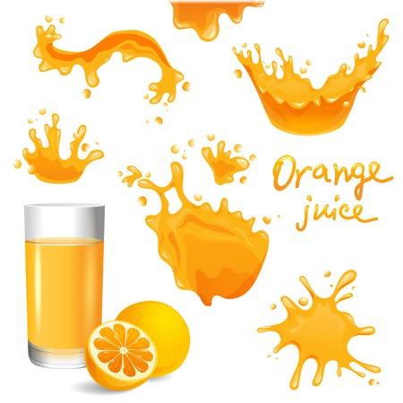 orange juice: Glass of orange juice, orange and splashes  set Illustration