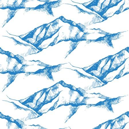 hand drawn mountain seamless pattern