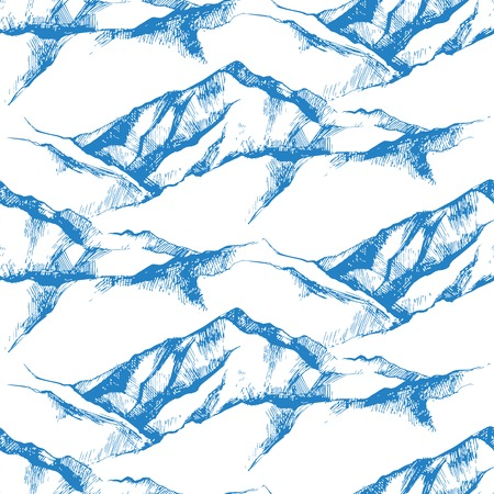 hand drawn mountain seamless pattern