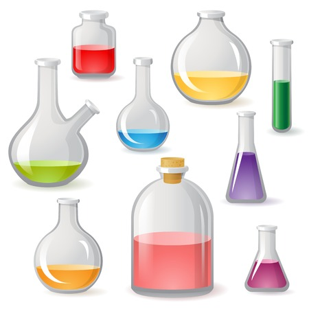 laboratory glass: Colorful flasks icons over white background