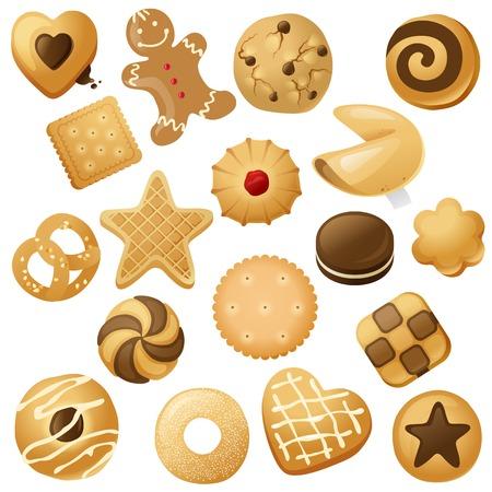 あなたのデザインのための 18 のクッキー アイコン  イラスト・ベクター素材
