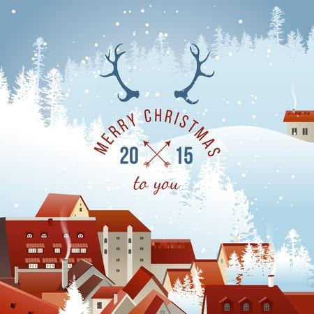 non urban scene: Winter landscape with Christmas type design
