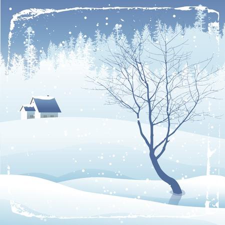 tranquil scene on urban scene: Snowy evening winter landscape with tree