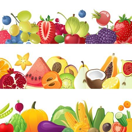 3 vruchten groenten en bessen horizontale grenzen Stock Illustratie