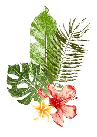 Set of hand drawn tropical leaves and flowers in color