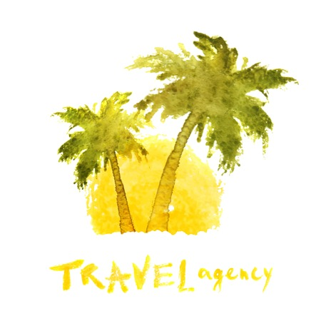 watercolor travel agency palm trees template Vector