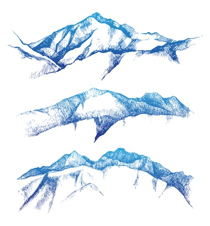 alps: hand drawn mountain range set