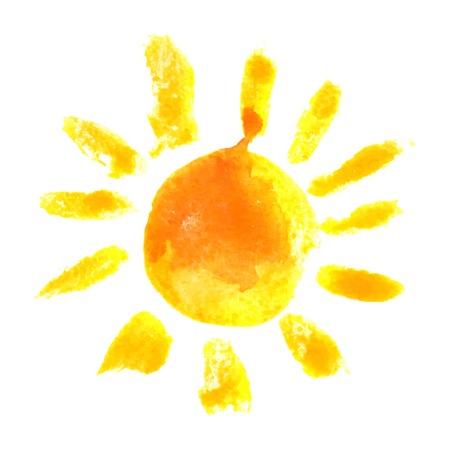 bright sun: hand drawn watercolor sun icon Illustration