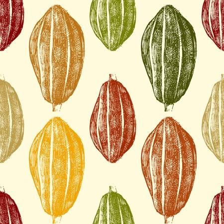 Hand gezeichnete Kakaobohnen nahtlose im Vintage-Stil Standard-Bild - 32649115
