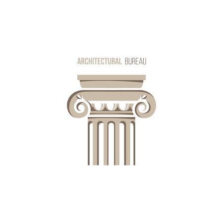 greek column: architectural bureau template with ionic column Illustration