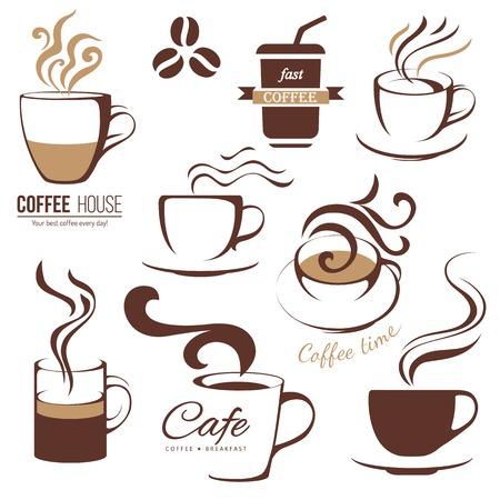 コーヒーとカフェの lofo テンプレート セット