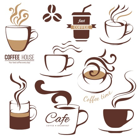 coffee and cafe lofo templates set 版權商用圖片 - 32889896