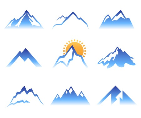 ice: 9 stylized mountains signs over white background Illustration