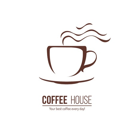 coffee icon template with stylized cup Çizim