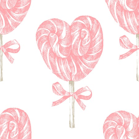 hard stuff: hand drawn pink lollipop heart seamless