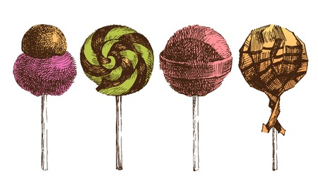 hard stuff: 4 hand drawn lollipops icons