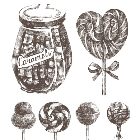 hard stuff: hand drawn caramels set in retro style Illustration