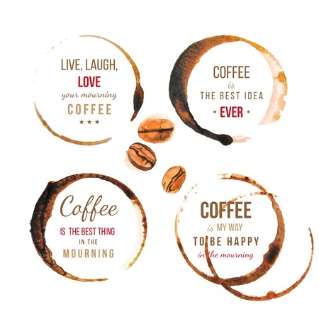 coffee beans: Coffee stains with type designs about coffee
