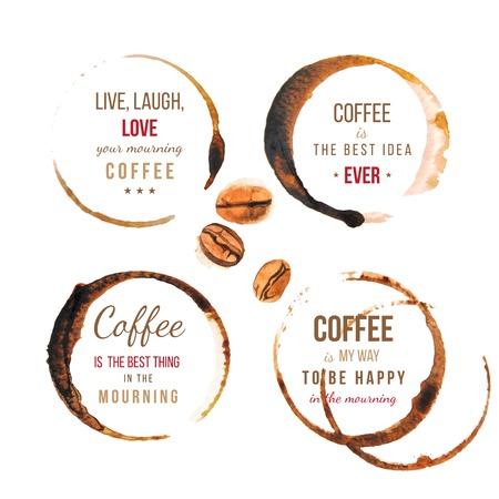 frijol: Manchas de caf� con dise�os de tipo sobre el caf�