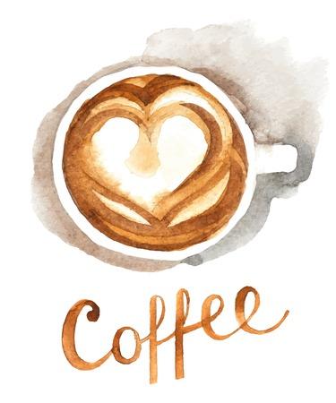 水彩コーヒー カップ - 平面図  イラスト・ベクター素材