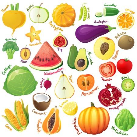 berenjena: Las frutas y verduras icono conjunto