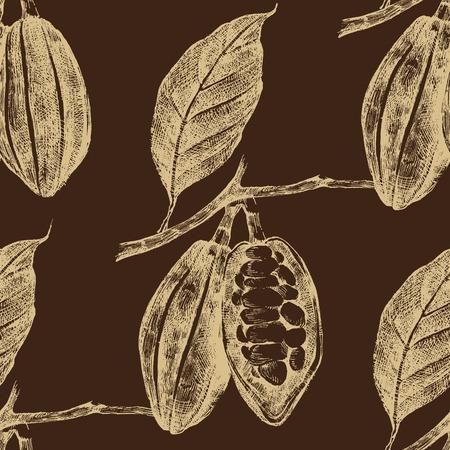 ビンテージ スタイルではシームレスに描かれたカカオ豆を手します。  イラスト・ベクター素材