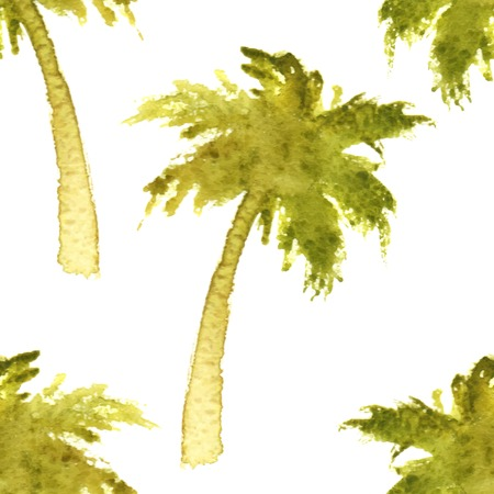 hand palm: seamless pattern with watercolor palm trees