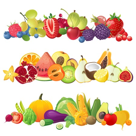 fruit illustration: 3 fruits vegetables and berries horizontal borders