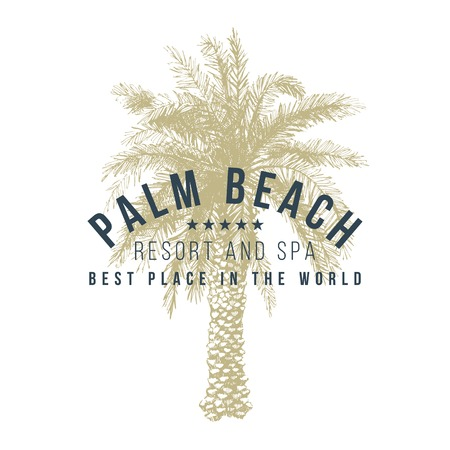 village vacances: palm beach logo mod�le avec palmier dessin� � la main