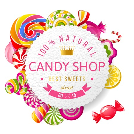 Paper candy shop label with type design and nuts Ilustração