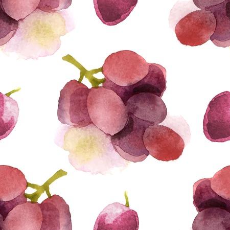 sauvignon: Bright watercolor grapes seamless pattern