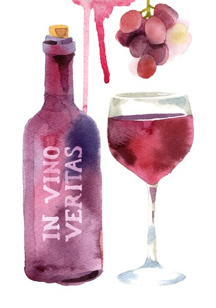 Bright watercolor wine design elements Ilustracja