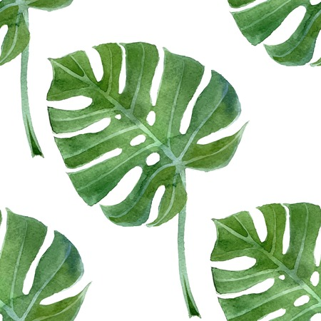 watercolor monstera leaf seamless pattern Illustration