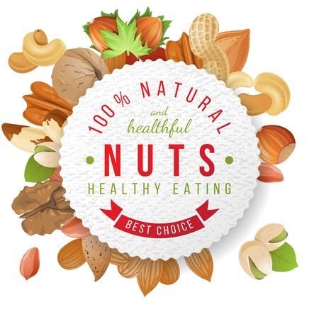 avellanas: Etiqueta de papel con frutos secos y nueces de diseño de tipo
