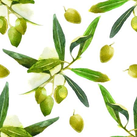 lumineux olives de aquarelle seamless pattern