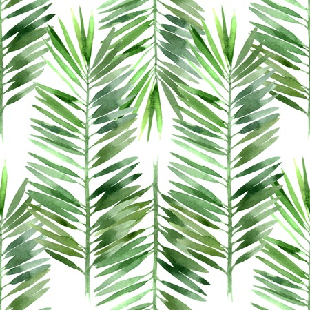 foliage frond: watercolor palm tree leaf seamless pattern
