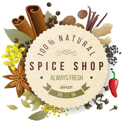 épices: emblème de papier de boutique d'épices avec différentes épices
