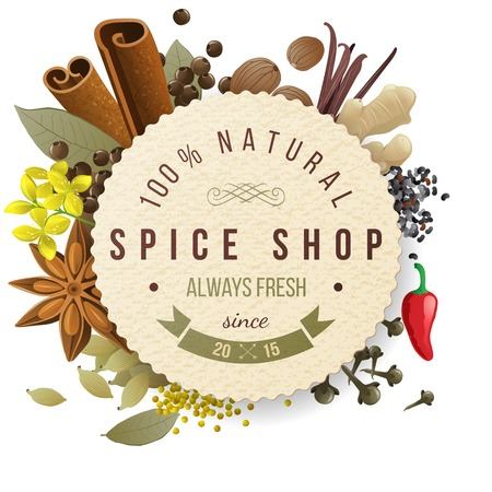 dry fruit: spice shop paper emblem with different spices