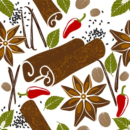 star anise: seamless pattern with stylized spices