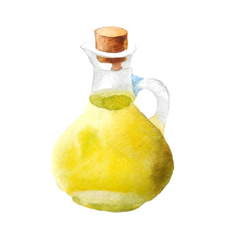cooking oil: Watercolor bottle with olive oil