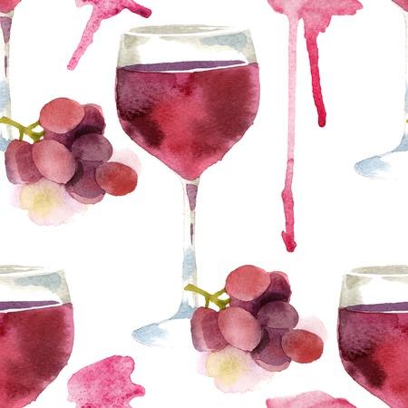 明るい水彩ワイン シームレスなパターン 写真素材 - 33817487