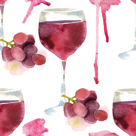 vino: Bright watercolor wine seamless pattern