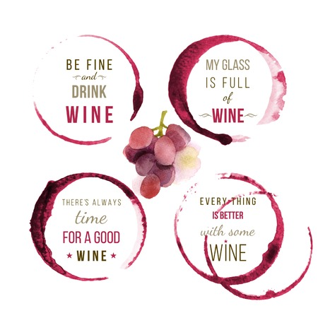 food and wine: Bright watercolor wine type designs